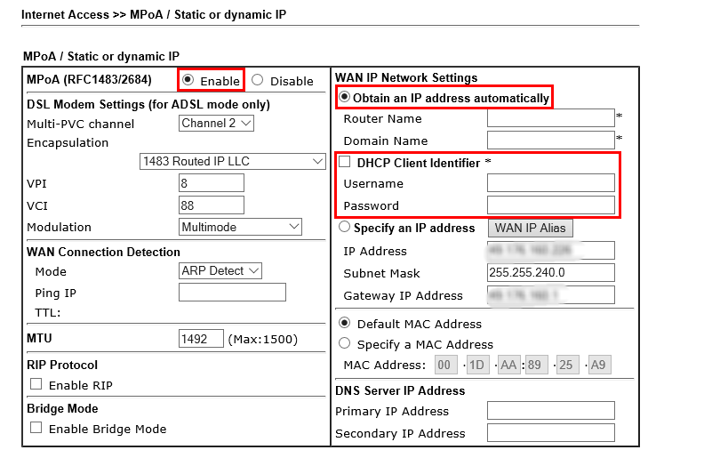 How to Connect DrayTek Vigor130 to VDSL2 connection on NBN