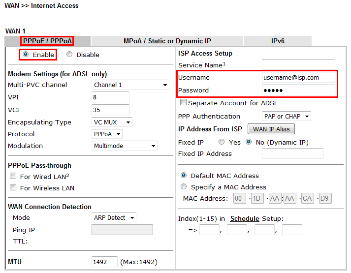 How to Connect DrayTek Vigor router to VDSL2 connection on NBN